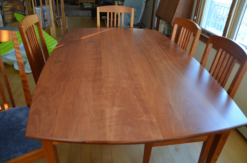 Solid cherry wood dining table and chairs for sale Kennebunkport Maine