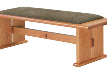 Art Bench. Shown in cherry with fabric seat.