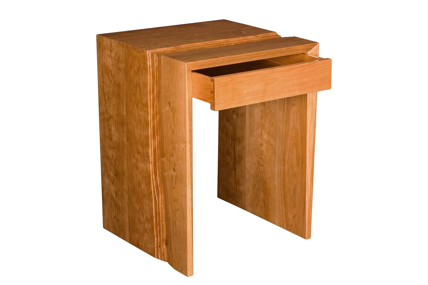 Rivers Waterfall End Table with Drawer. Shown in cherry.